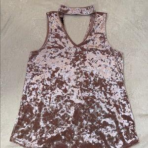 Pink crushed velvet sleeveless top